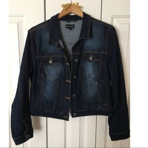 Distressed dark jean jacket